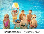 little kids at swimming pool on ... | Shutterstock . vector #495918760