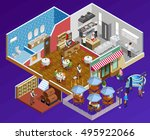 restaurant interior isometric... | Shutterstock .eps vector #495922066