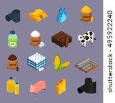 commodity icons set with milk...