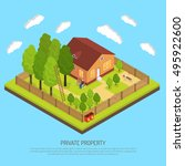 private suburb property with... | Shutterstock .eps vector #495922600
