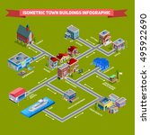 isometric cityscape infographic ... | Shutterstock .eps vector #495922690