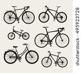 vector set of bicycle icons in... | Shutterstock .eps vector #495923728