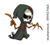 cute cartoon grim reaper with... | Shutterstock .eps vector #495927463