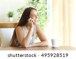 portrait of a funny girl taking ... | Shutterstock . vector #495928519