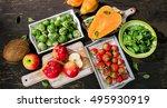high fiber foods on a dark... | Shutterstock . vector #495930919