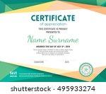 modern certificate with green... | Shutterstock .eps vector #495933274