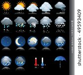 weather icon vector set on black | Shutterstock .eps vector #49593409