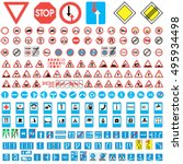 road sign collection. Set of road sign collection warning, priority, prohibitory symbol. vector illustration for print or website design