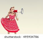 Woman With Megaphone Dressed In ...