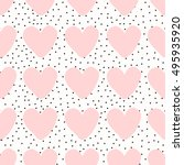 seamless pattern with hearts in ... | Shutterstock .eps vector #495935920