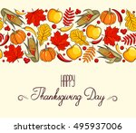 hand drawn card thanksgiving... | Shutterstock .eps vector #495937006