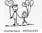 relationship of dad and baby  ... | Shutterstock . vector #495941959