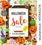 halloween sale offer design... | Shutterstock .eps vector #495942178