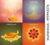 set of indian festival diwali... | Shutterstock .eps vector #495943276