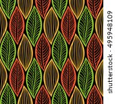 vector pattern with leaves.... | Shutterstock .eps vector #495948109