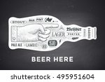 bottle of beer with hand drawn... | Shutterstock . vector #495951604