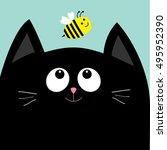 black cat head looking at honey ... | Shutterstock .eps vector #495952390