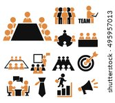 conference  business icon set | Shutterstock .eps vector #495957013