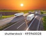 many white trucks driving... | Shutterstock . vector #495960028