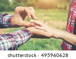 young hipster couple wearing... | Shutterstock . vector #495960628