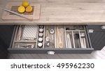 kitchen opened drawer full of... | Shutterstock . vector #495962230