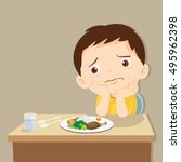 child eating boring food. cute... | Shutterstock .eps vector #495962398