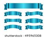 blue ribbons set. satin blank... | Shutterstock .eps vector #495965308
