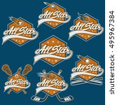 set of vintage sports all star... | Shutterstock .eps vector #495967384