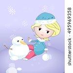 cartoon girl with snowman | Shutterstock .eps vector #495969358