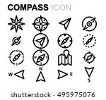 vector black line compass icons ... | Shutterstock .eps vector #495975076