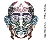 vector man face with tattoo.... | Shutterstock .eps vector #495975586