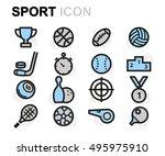 vector flat line sport icons... | Shutterstock .eps vector #495975910