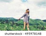 young beautiful woman enjoying... | Shutterstock . vector #495978148