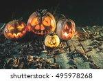 Halloween Pumpkins At Wood...
