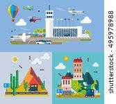 modern flat design conceptual... | Shutterstock .eps vector #495978988