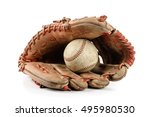 Old vintage baseball glove with ...