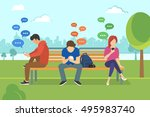 young people sitting in the... | Shutterstock . vector #495983740