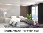 bedroom interior. 3d... | Shutterstock . vector #495984550