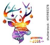 christmas deer. merry christmas ... | Shutterstock .eps vector #495985378