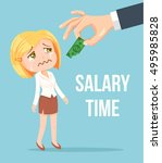 boss giving small salary to... | Shutterstock .eps vector #495985828