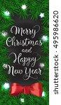 merry christmas lettering  bow... | Shutterstock .eps vector #495986620