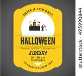 halloween party card template.... | Shutterstock .eps vector #495990844