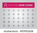 outline user icon set | Shutterstock .eps vector #495992638