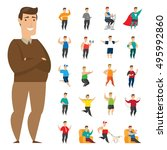 fat people character in action | Shutterstock .eps vector #495992860