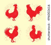 Set Of Rooster Labels. Vintage...
