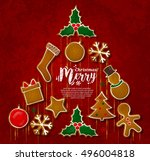 christmas tree made from... | Shutterstock .eps vector #496004818