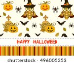 happy halloween pattern with... | Shutterstock . vector #496005253