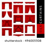 big set of red silk curtains... | Shutterstock .eps vector #496005508