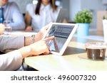 business colleagues working... | Shutterstock . vector #496007320