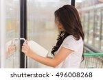 asia woman having on her hands... | Shutterstock . vector #496008268